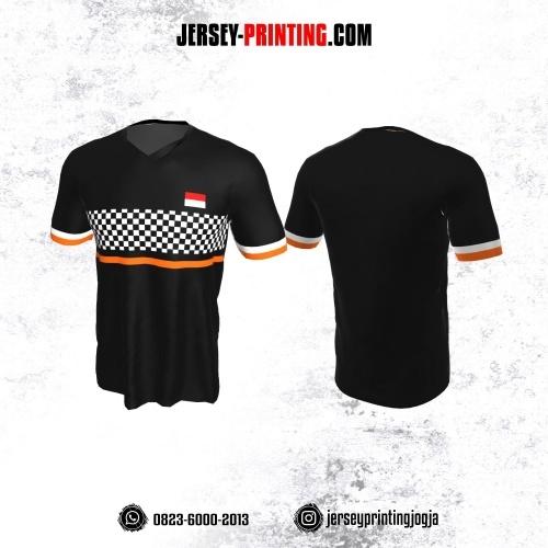 Jersey Badminton Hitam Corak Papan catur Hitam Putih Orange