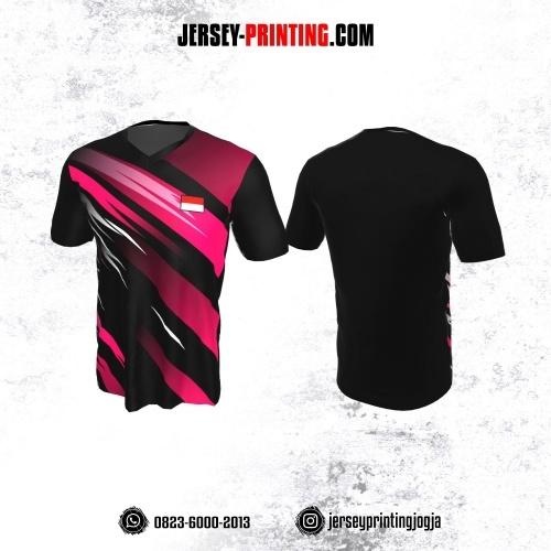Jersey Badminton Hitam Corak Pink Putih
