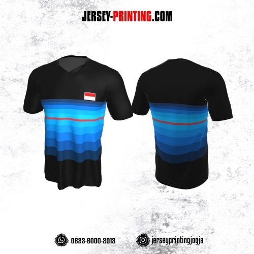 Jersey Badminton Hitam Corak Strip Gradasi Biru