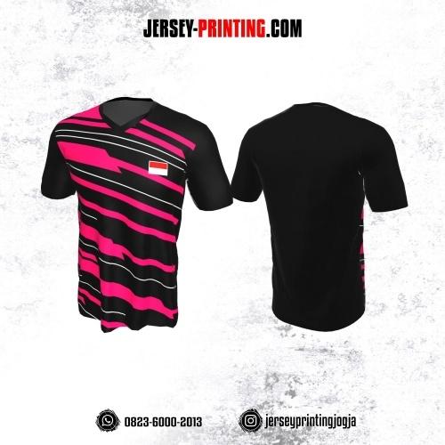 Jersey Badminton Hitam Garis Pink Putih