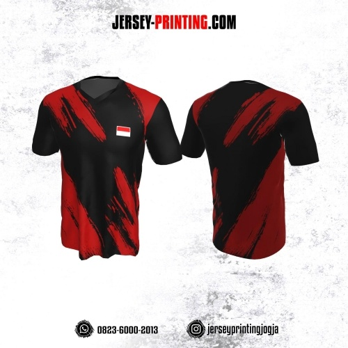 Jersey Badminton Hitam Motif Brush Merah