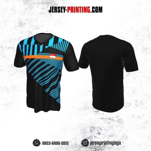 Jersey Badminton Hitam Motif Strip Biru Orange