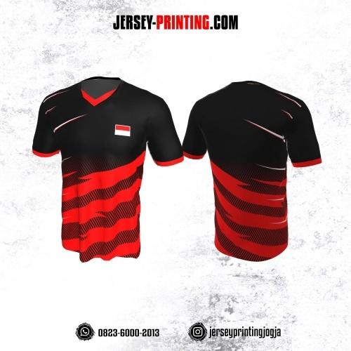 Jersey Badminton Hitam Motif Strip Merah