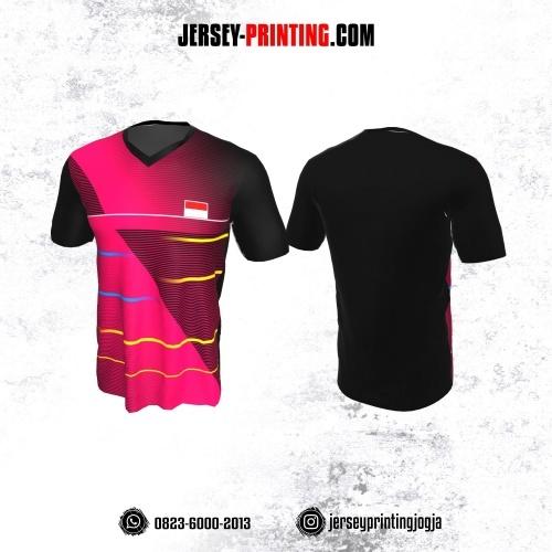 Jersey Badminton Hitam Pink Garis Biru Kuning