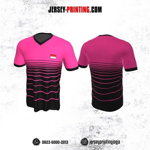 Jersey Badminton Hitam Pink Strip