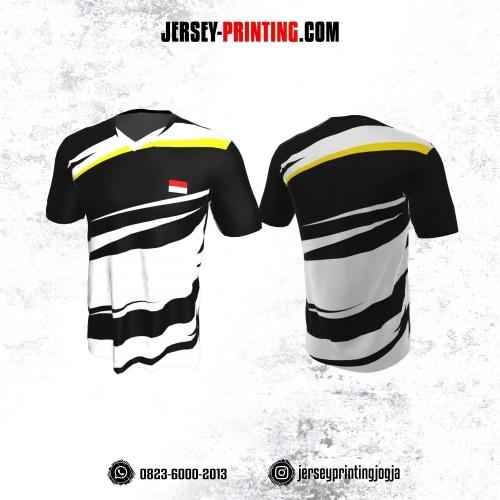 Jersey Badminton Hitam Putih Kuning Garis
