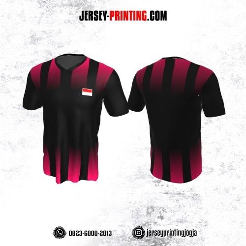 Jersey Badminton Hitam Strip Merah Jambu