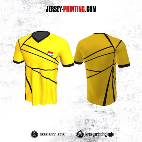 Jersey Badminton Kuning Corak Hitam