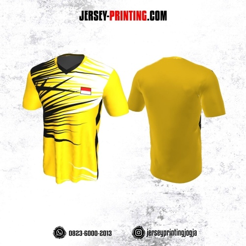 Jersey Badminton Kuning Corak Hitam Putih