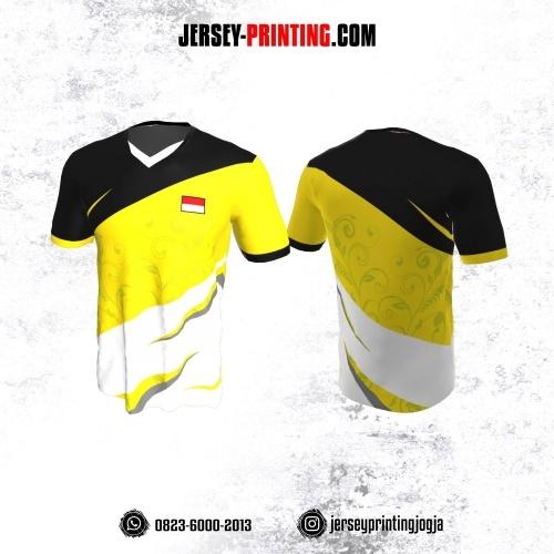 Jersey Badminton Kuning Hitam Putih Motif Flora
