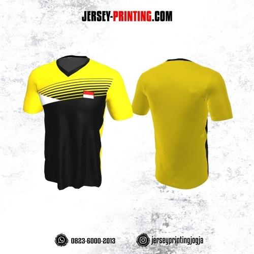 Jersey Badminton Kuning Hitam Putih Motif Garis