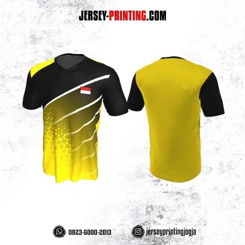 Jersey Badminton Kuning Hitam Strip Putih Motif Geometris