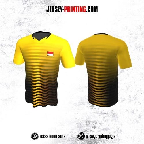 Jersey Badminton Kuning Strip Hitam