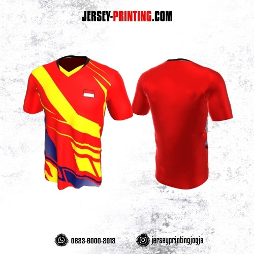 Jersey Badminton Merah Corak Kuning Biru
