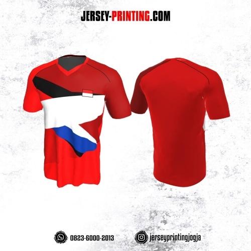 Jersey Badminton Merah Corak Putih Hitam