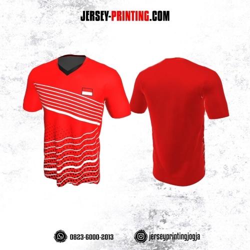 Jersey Badminton Merah Motif Garis Putih Polkadot Hitam