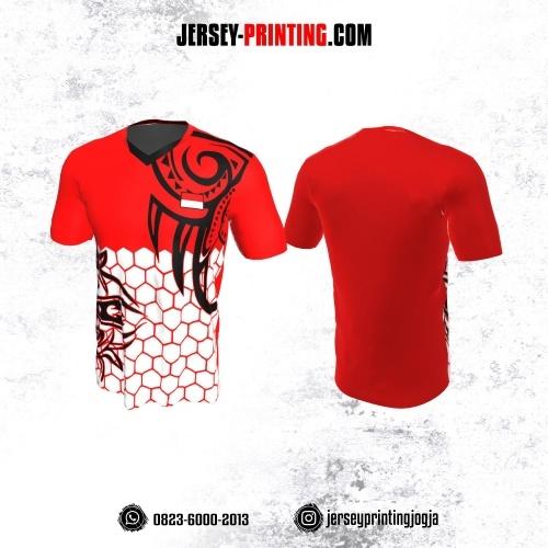 Jersey Badminton Merah Putih Hitam Motif Honeycomb