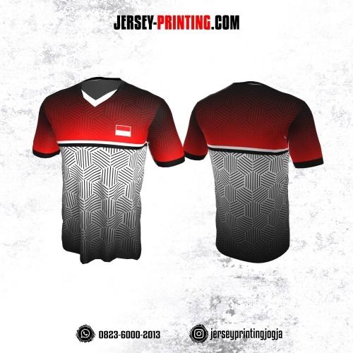 Jersey Badminton Merah Putih Motif Seamless Hitam