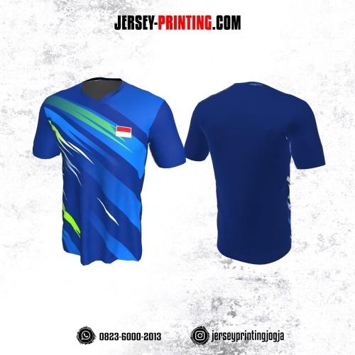 Jersey Badminton Navy Corak Biru Hijau