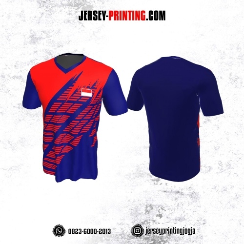 Jersey Badminton Navy Corak Strip Merah