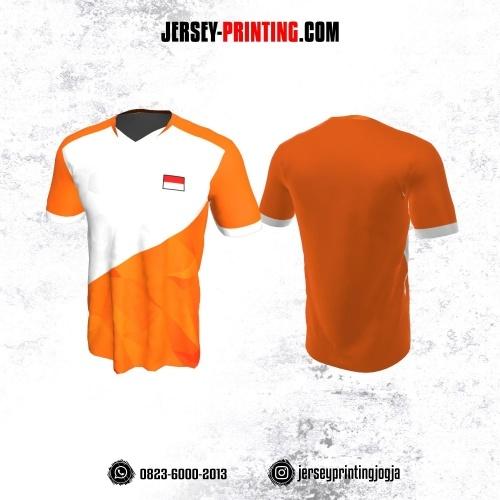 Jersey Badminton Orange Corak Putih