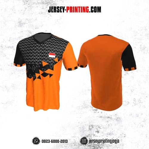 Jersey Badminton Orange Motif Geometris Hitam