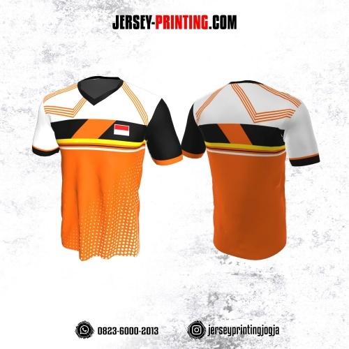 Jersey Badminton Orange Putih Hitam Motif Garis dan Polkadot