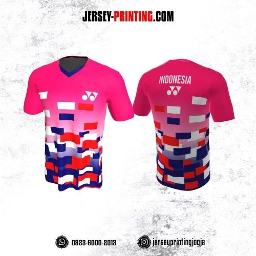 Jersey Badminton Pink Biru Merah Putih Motif Geometris