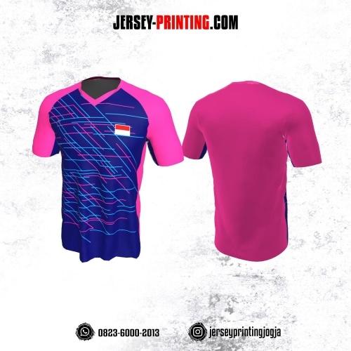 Jersey Badminton Pink Biru Motif Garis Abstrak