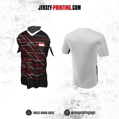 Jersey Badminton Putih Hitam Garis Abstrak Merah