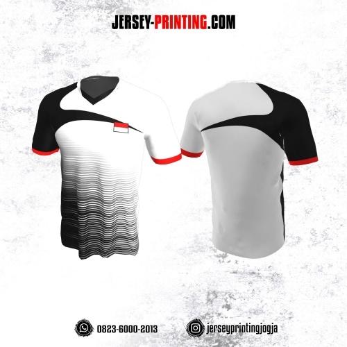 Jersey Badminton Putih Hitam Merah Motif Strip