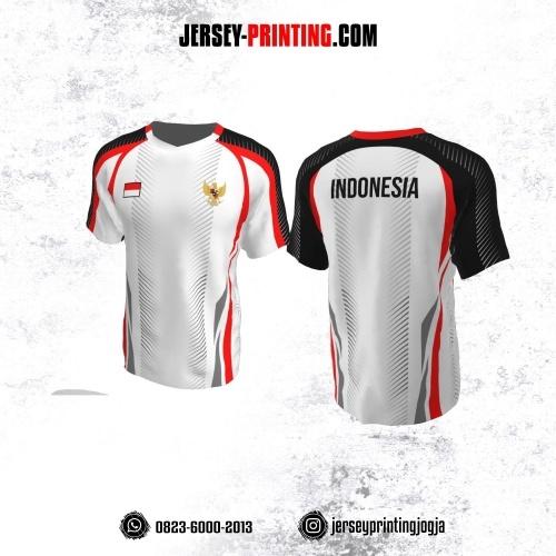 Jersey Badminton Putih Hitam Merah Olimpiade Tokyo 2021