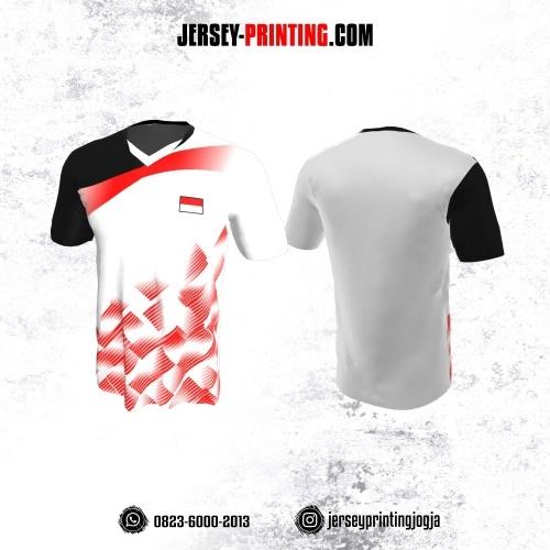 Jersey Badminton Putih Hitam Motif Strip Merah