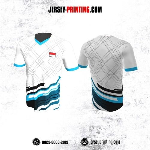 Jersey Badminton Putih Line Biru Hitam Motif Geometris