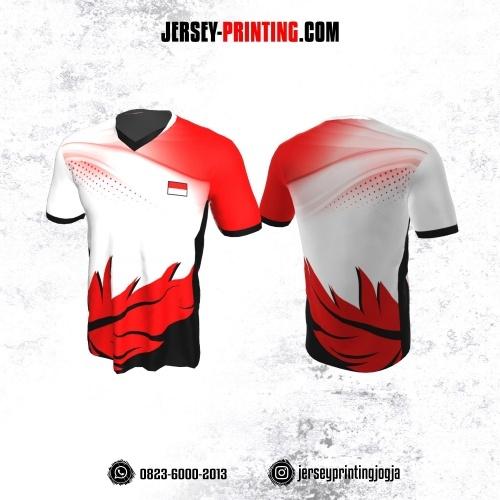 Jersey Badminton Putih Motif Daun Merah