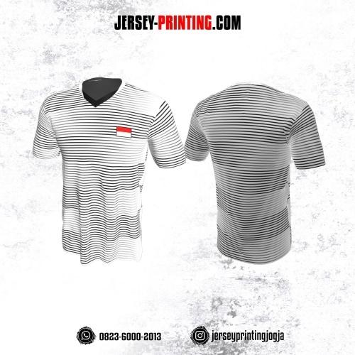 Jersey Badminton Putih Motif Strip Hitam