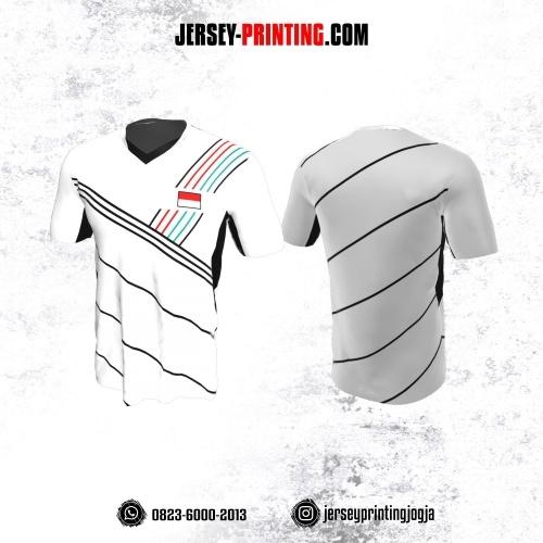Jersey Badminton Putih Motif Strip Hitam Merah Tosca