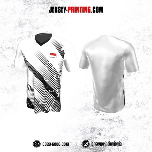 Jersey Badminton Putih Motif Stripe Hitam
