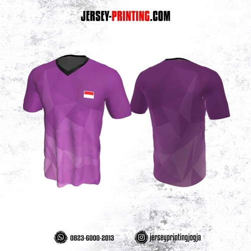 Jersey Badminton Ungu Corak Abu