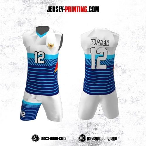Jersey Baju Volly Tanpa Lengan Biru Navy Putih Motif Strip