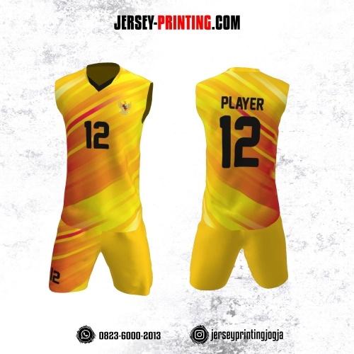 Jersey Baju Volly Tanpa Lengan Kuning Corak Orange Gradasi