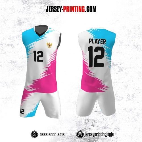 Jersey Baju Volly Tanpa Lengan Putih Motif Brush Pink Biru