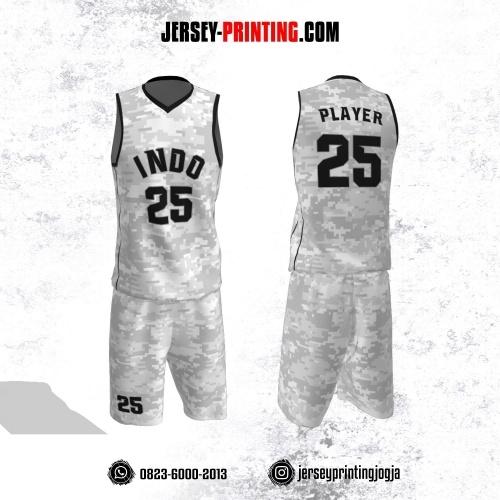 Jersey Basket Abu-abu Putih Motif Abstrak