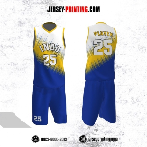 Jersey Basket Biru Kuning Putih Motif Garis