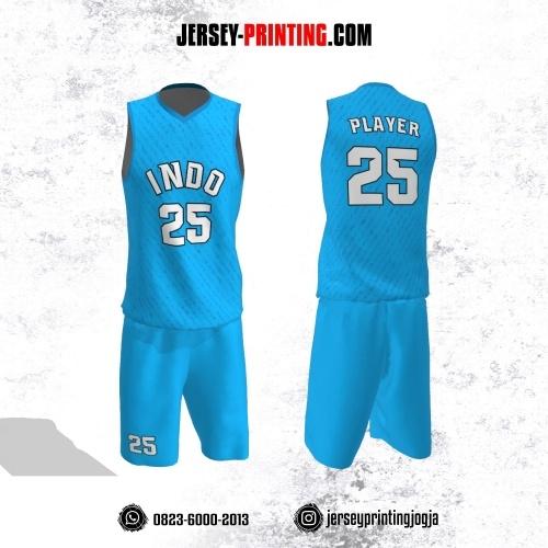 Jersey Basket Biru Motif Brush