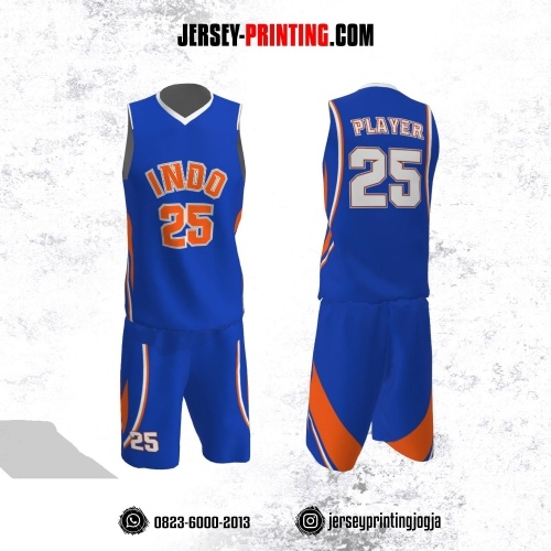 Jersey Basket Biru Motif Line Orange Putih