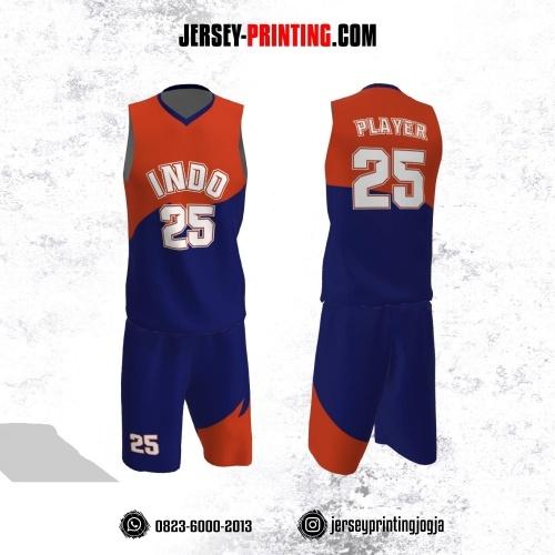 Jersey Basket Biru Navy Corak Orange