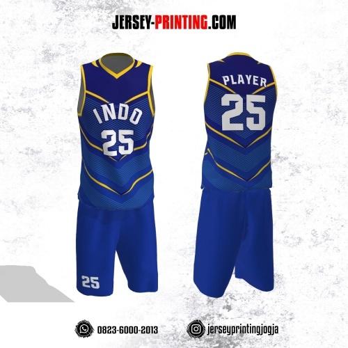 Jersey Basket Biru Navy Motif Line Kuning