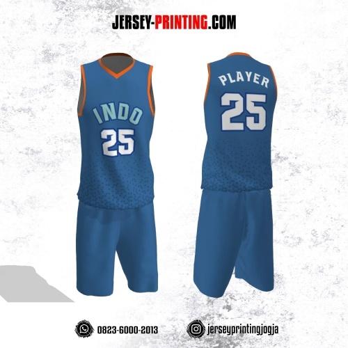 Jersey Basket Biru Orange Motif Geometris