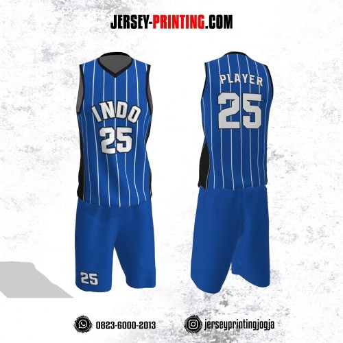 Jersey Basket Biru Putih Hitam Motif Stripe